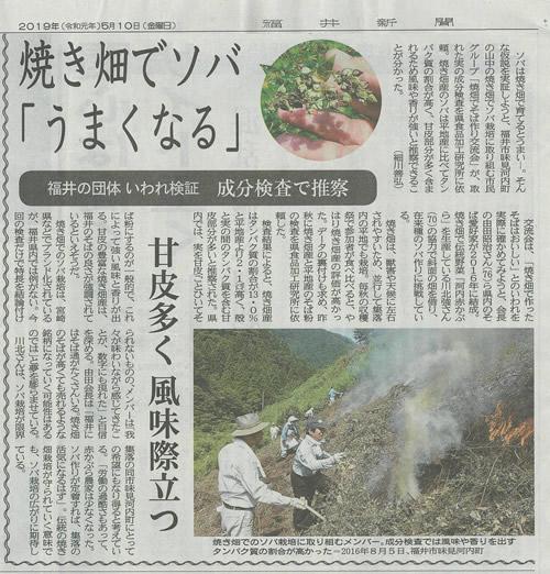 福井県美山町で行った「焼畑でそば作り交流会」の活動が福井新聞[2019,5,21]に掲載されました。