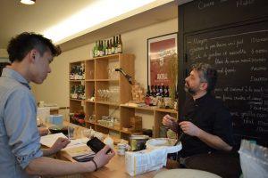 We talk about galette,farine de sarrasin.Creperie du Chateau,06.
